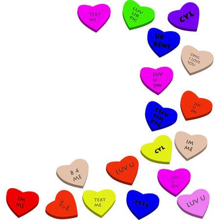 valentine heart candy with text speak