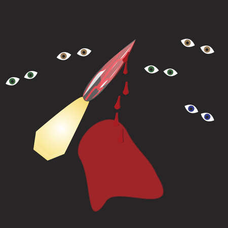 knife made of gold handle, diamond blade, with blood veins running through it, and the knife is dripping blood. There are eyes staring out from a black background. Stock Photo