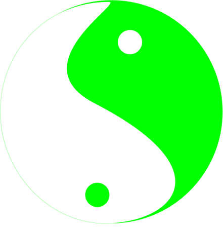 Tai Chi symbol in colors of green and white, showing the movement of yin and yang fluid motion.