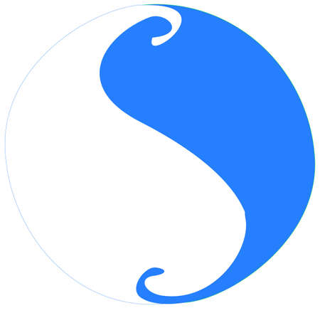 symbol: Tai Chi symbol in colors of blue and white, showing the movement of yin and yang as that of a wave, a fluid motion. Stock Photo