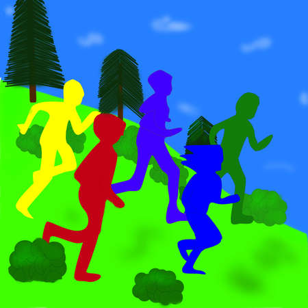 children running down a hill against blue sky background Stock Photo