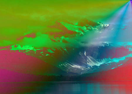 a picture of Alaska taken along the Inside Passage and edited with gradient arbitrary colors