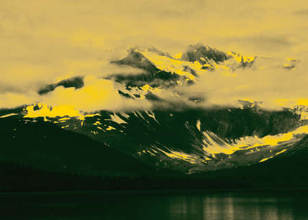 a picture of Alaska as seen from the Inside Passage, then altered with arbitrary gradient colors.