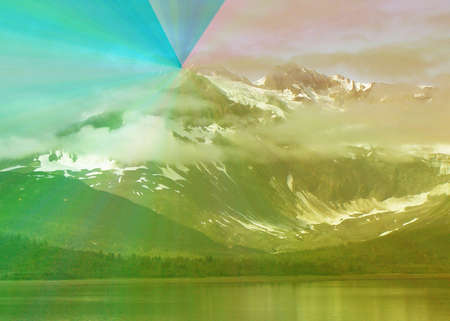 a picture of Alaska along the Inside Passage, altered with arbitrary gradient color