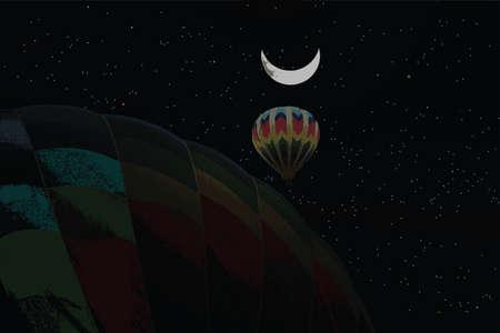 Starry Night Hot Air Balloons Stock Photo