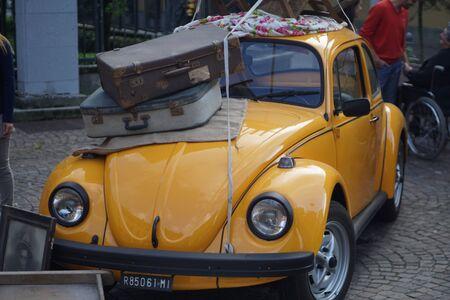 yellow car: Vintage Yellow Car