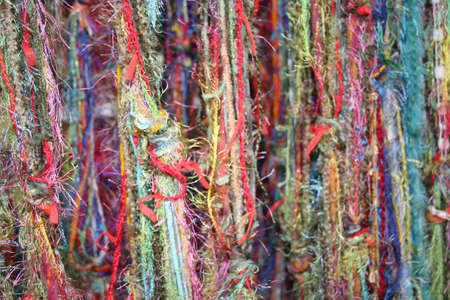 patchwork pattern: Multi colored yarns and threads for texture or background Stock Photo