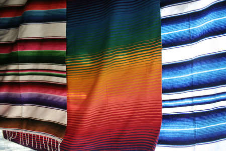 Colorful Mexican blankets for sale at market in Yucatan