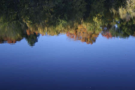 Reflection of colorful autumn leaves and blue sky on water Stock Photo - 8079964
