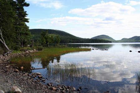 Maine scenic of Eagle Lake at Acadia National Park Standard-Bild