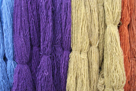 Colorful yarn in bundles for craft projects