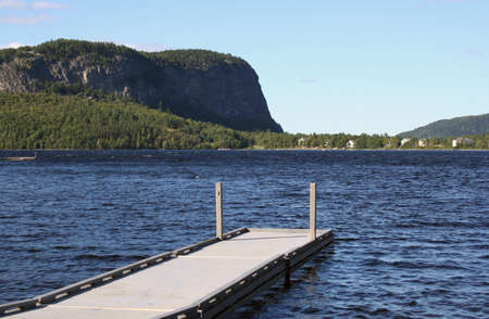 Dock on waterfront of lake in Maine