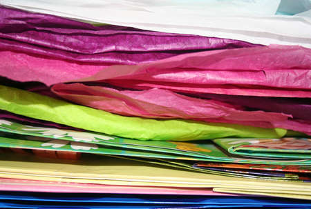 Cross section of layers of colorful wrapping paper