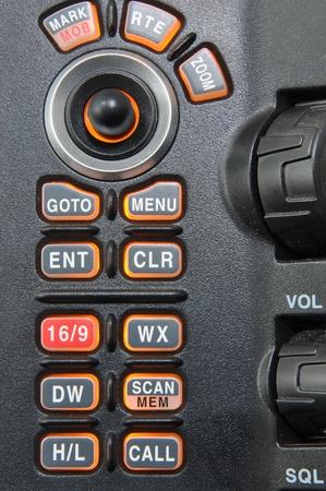 tablero de control: detalle de panel de control de radio vhf marino Foto de archivo