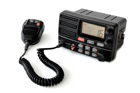 VHF marine radio with speaker microphone in standby mode