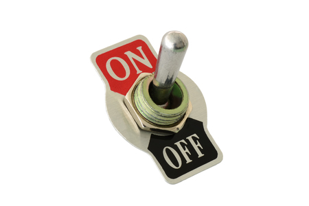 Closeup of toggle switch for power on off electric device isolated in white background