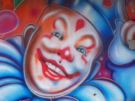 freak out: Face design on a lorry at victorian extravaganza, Llandudno, North wales.conwy