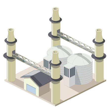 Isometrical 工場建物のアイコン  イラスト・ベクター素材