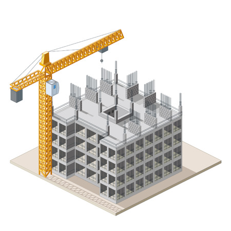 site: Isometrical construction site icon Illustration