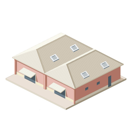 depository: Isometrical shipping warehouse icon Illustration