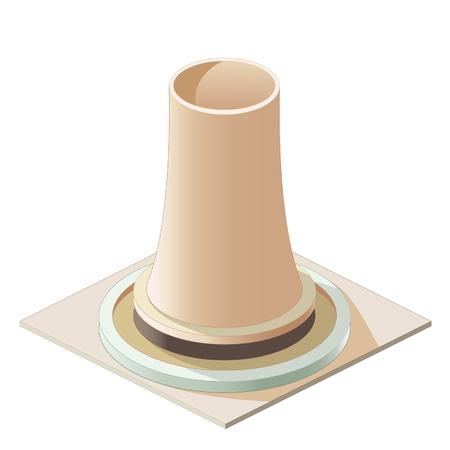 powerplant: Titel: isometrisch energiecentrale pictogram