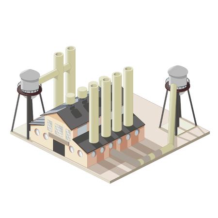 Isometrical 工場アイコン  イラスト・ベクター素材