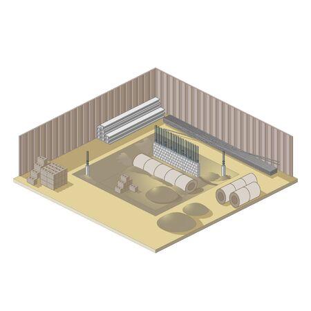 等尺性のアイコンのサイト建物