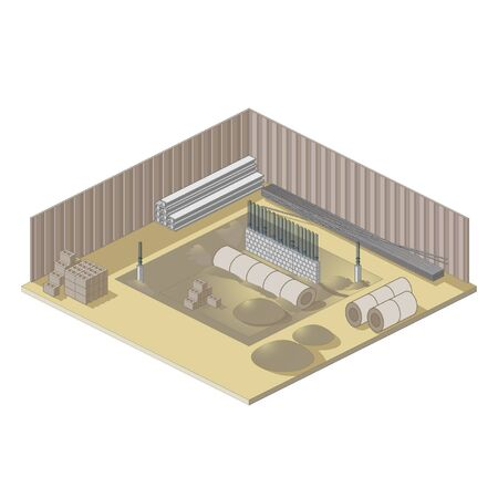 erection: Isometric building site icon Illustration
