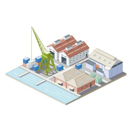 Isometrisch Port kaart Vector Illustratie