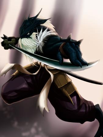 swordsman: black samurai Stock Photo