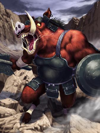 commander: boar warrior Stock Photo