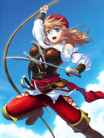 trooper: armored female pirate Stock Photo