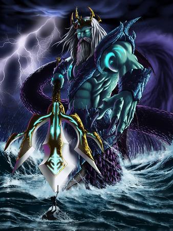 the protector: sea god Stock Photo
