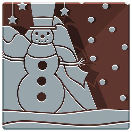 snow man: christmas snow man simple icon