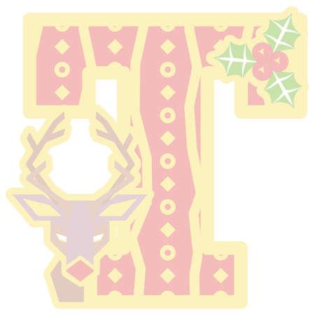 christmas icon: christmas decorative letter T icon Illustration