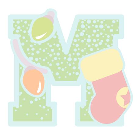christmas icon: christmas decorative letter M icon