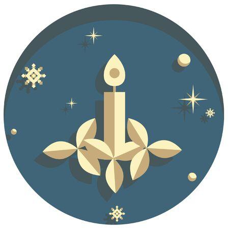 white christmas: white christmas theme style candle icon Stock Illustratie