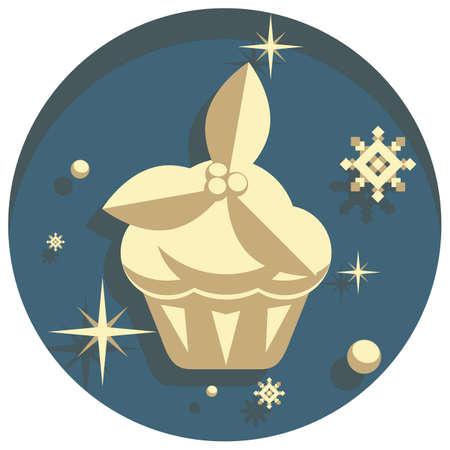white christmas: white christmas theme style  cupcake icon Stock Illustratie
