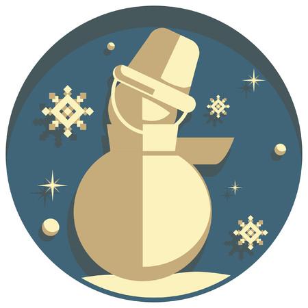 white christmas: white christmas theme style  snowman icon Stock Illustratie