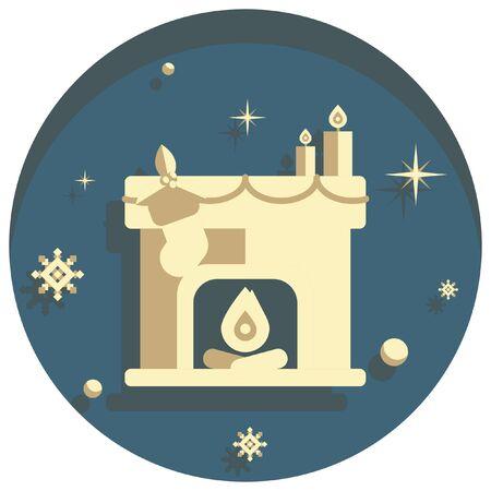 white christmas theme style fire place icon