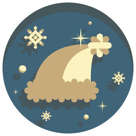 white christmas: white christmas theme style santas hat icon