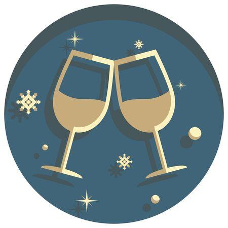 white christmas: white christmas theme style toast glass icon
