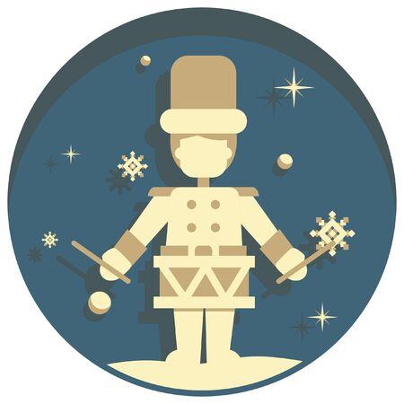 white christmas: white christmas theme style drummer boy  icon Stock Illustratie