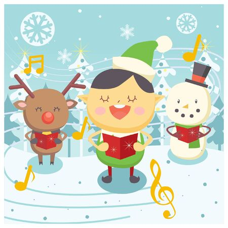 reindeers: christmas carol theme illustration
