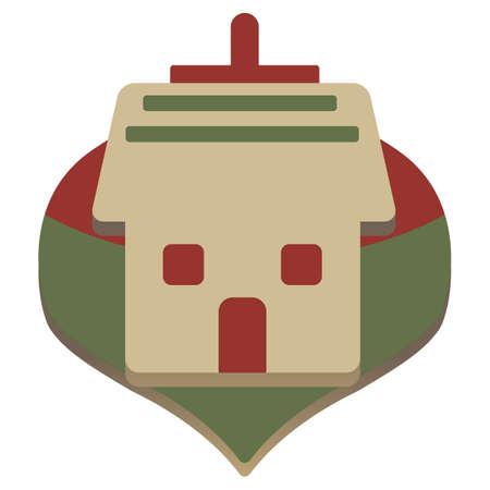 christmas house: christmas simple vector house icon Illustration
