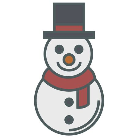 holiday celebrations: christmas simple vector snowman icon Illustration