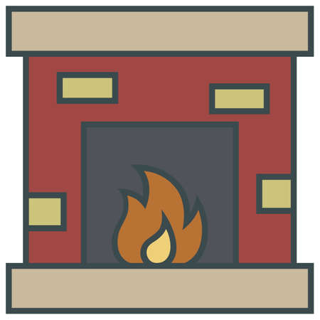 fire place: christmas simple vector  fire place icon