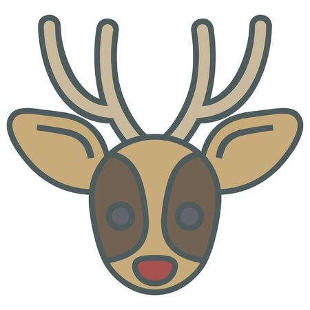 holiday celebrations: christmas simple vector reindeer icon Illustration