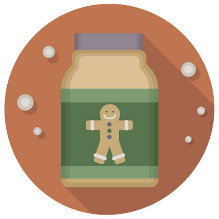 holiday celebrations: christmas vintage gingerbread jar icon