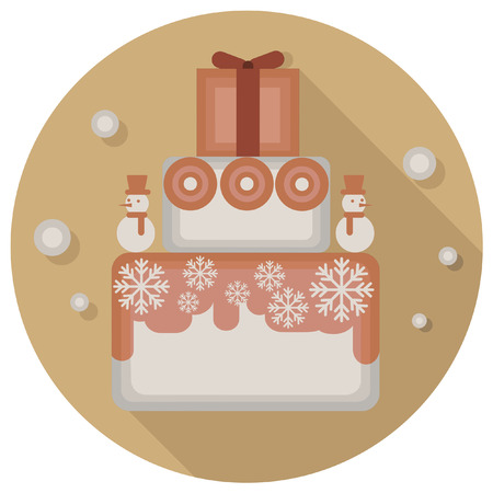 christmas cake: christmas vintage cake icon Illustration